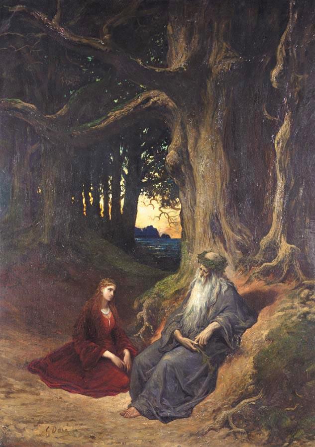 """""""Viviane et Merlin se reposant dans la forêt"""", Gustave Dore (1832-1883)"""